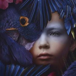 Blue parrot boy
