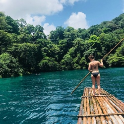 A little piece of heaven on earth, rafting the blue lagoon in Jamaica