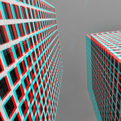 Lee Towers Rotterdam 3D anaglyph B&W