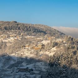 Zonnig winter panorama