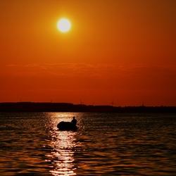 In de ondergaande zon