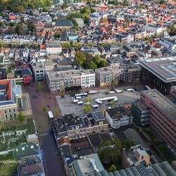 Uitzicht vanuit de Achmeatoren in Leeuwarden. Het Zaailand en het Fries Museum.