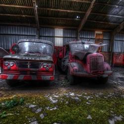 Abandoned firetrucks