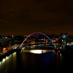 NewCastle's Millenium Bridge by night!