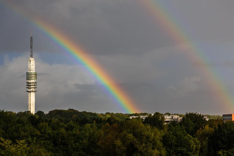 Double Rainbow - Dubbele regenboog deze morgen bij het Mediapark.