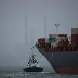 Rainshower in Port of Rotterdam