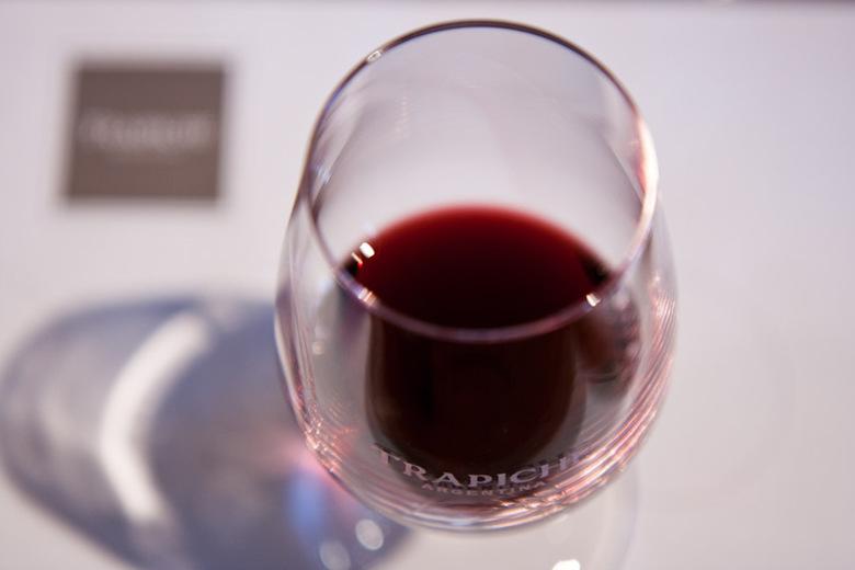 Wijnproeven - Wijn proeven in de buurt van Mendoza, bij Trapiche. Waarschijnlijk een Malbec.