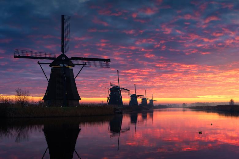 Morning Glory - Weer eens een keertje vroeg uit de veren gegaan om een mooie winterse zonsondergang te fotograferen in Kinderdijk. De weersvoorspellin