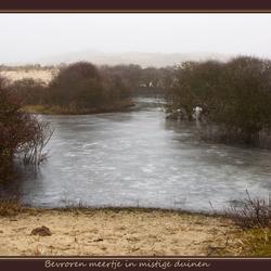 ijsmeer in mistige duinen