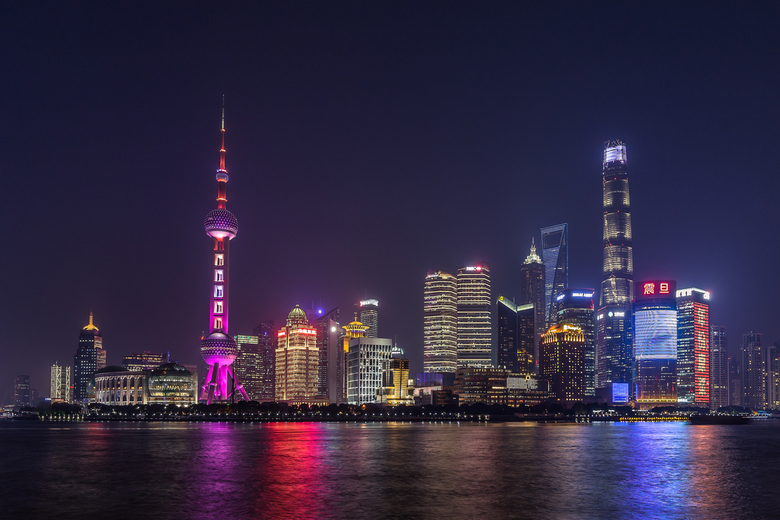 When the lights are on - The Bund, skyline Shanghai | China.