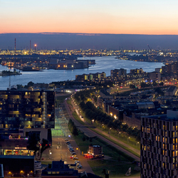 Rotterdam harbour by night