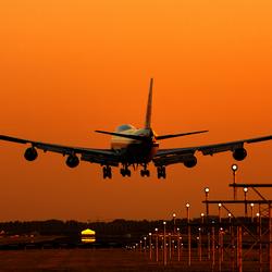 Sunset landing Schiphol