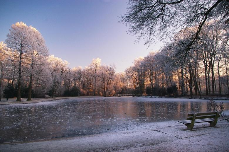 """Kerst-parkvijver - het is geen sneeuw maar rijp wat uit de bomen is gevallen<img  src=""""/images/smileys/wilt.png""""/>"""