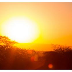 Zonsondergang Kruger park, Zuid Afrika