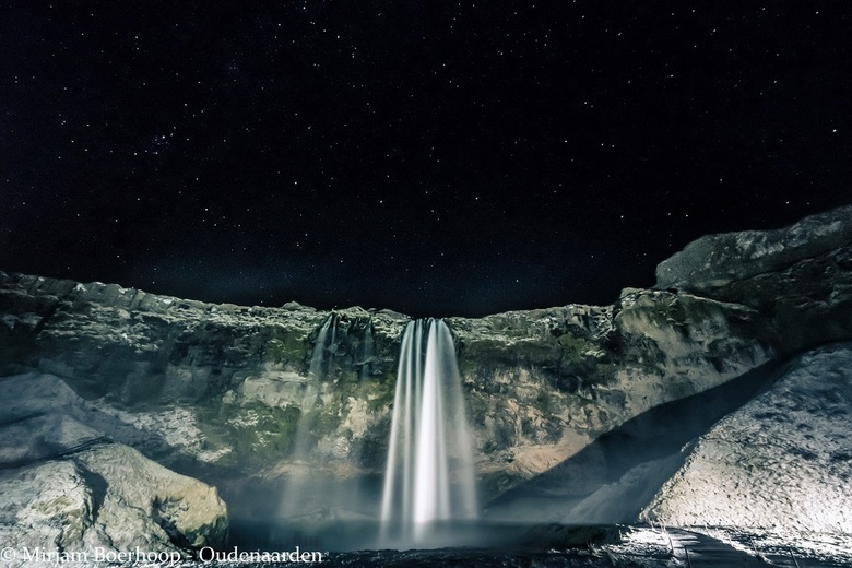 Seljalandsfoss waterfall by night -