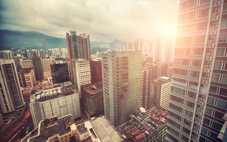 Hong Kong - Uitzicht van Tsuen Wan, Hong Kong.