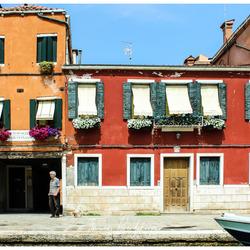 Kleurige huizen in Venetië
