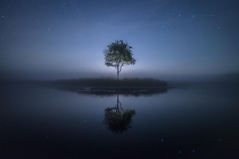 Perfect reflection - Vrijdagavond waren het perfecte omstandigheden voor een mooie sterrenhemel en de mist maakte het helemaal af