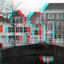 grachten Delft 3D anaglyph stereo B&W