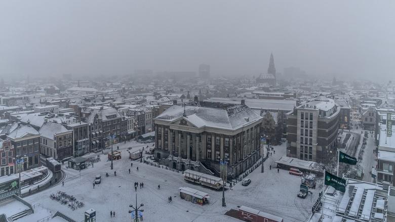 Winters Groningen - Toen het sneeuwde de Martinitoren beklommen.