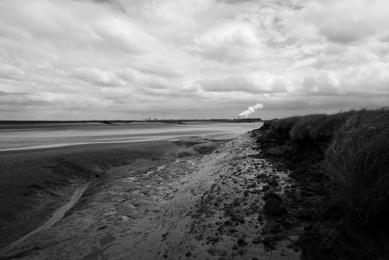 """Zeeland - Verdronken land van Saeftinghe - Zicht op de slikken van het """"verdronken land van Saeftinghe"""", Zeeland (Zeeuws Vlaanderen). In de"""