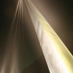 Fietsbrug in Drachten in de mist