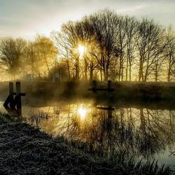 Vlak na een nevelige zonsopkomst