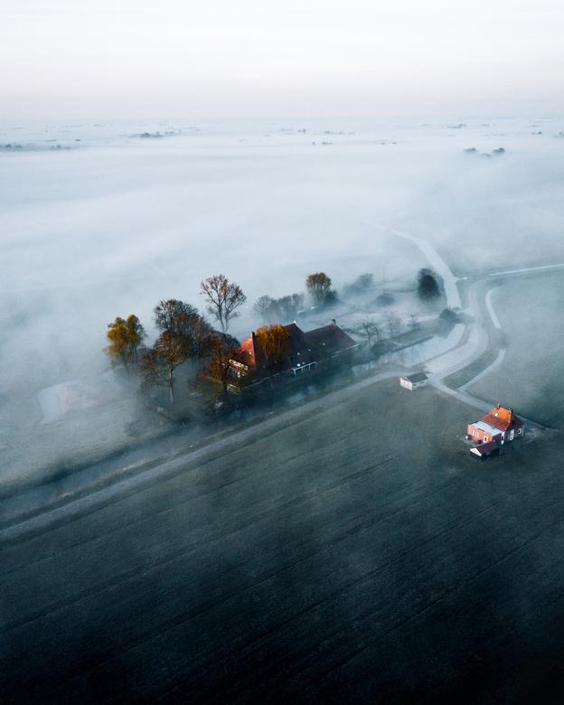 Mist op het platteland - Een mistige ochtend op het platteland.