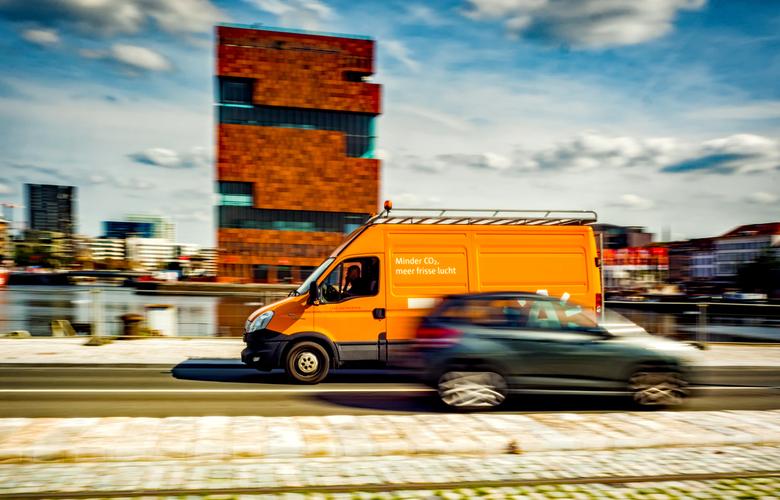Minder CO2... - &quot;Museum aan de Stroom&quot; op de achtergrond. Haven Antwerpen.<br /> <br />