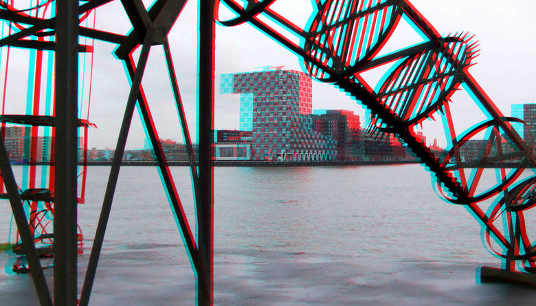 Rotterdam 3D - Uitzicht Charlois Rotterdam naar Lloydkade in 3d stereo anaglyph