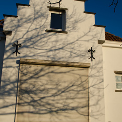 Takkenschaduw op wit huisje