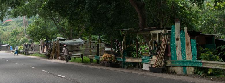 Fruitkraampjes in Jamaica - Foto is geschoten langs een weggetje in de bergen van Jamaica. Hier zie je langs de weg allemaal kraampjes waar je fruit k