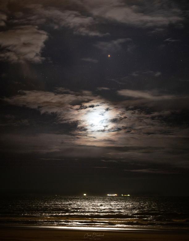 Maansondergang - Samenstand mars, uranus en de maan.