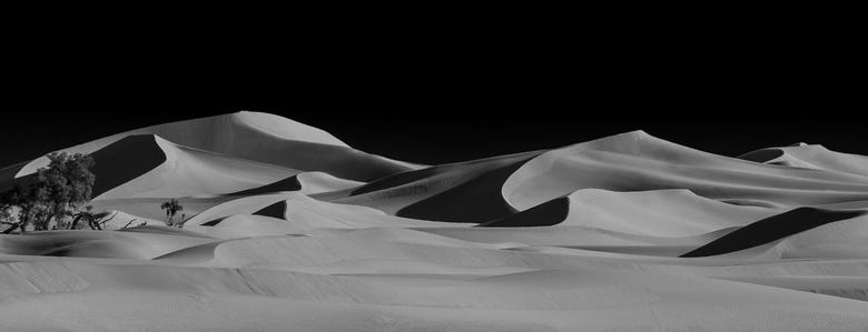 Erg Chigaga (panorama) - De hoogste duinen in Erg Chigaga. De hoogste steekt zo'n 60-70m boven de omgeving uit. Bij de bomen links was nog een kl