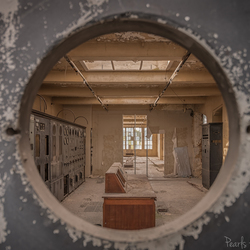 Staring through a hole.