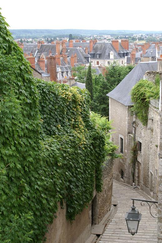 Lange trap - Een erg lange en mooie trap van het hoge naar het lage gedeelte in het stadje Blois in Frankrijk