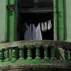 Laundry with balcony