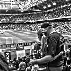 Vader met dochter bij Ajax