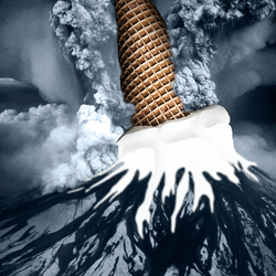 Bewerking: Een vulkaan barst uit in Ijsland...