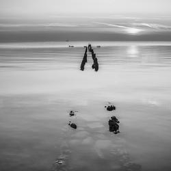 Zonsondergang in zwart/wit