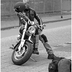 The biker ...