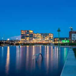 Noorderhaven Zutphen met hoog water