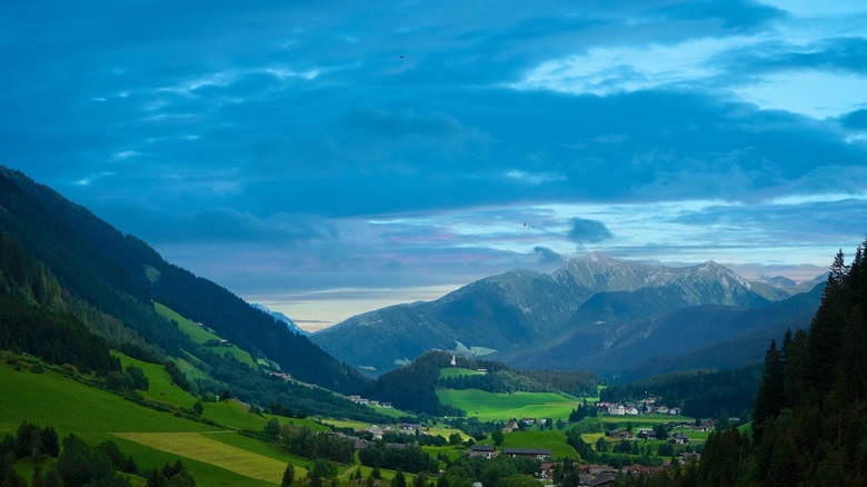 Ridanna valley at sunset - Here a shot from our holiday on the Alps in 2016. This church can be seen from most of the valley. I saturated the green, b