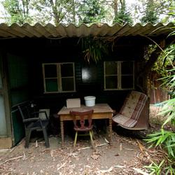 Vervallen huisje in bos