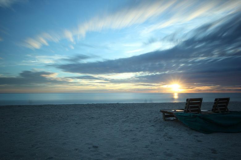Sunset @ Captiva Island - Captiva Island is een schiereiland aan de kust van Florida. Dit is een shot met een lange sluitertijd om het bewegen van de