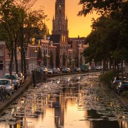 Delft at sunset.