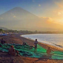 Werken bij de vulkaan