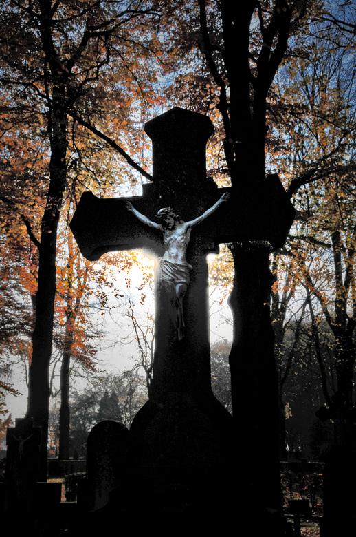 DSC_9799bewerkt.jpg - Prachtige kruis en de bomen in herfsttooi