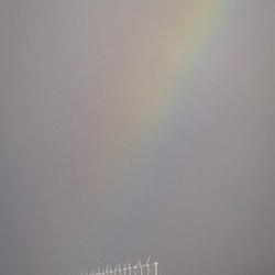 Windmolens en regenboog