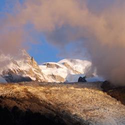 Avondlicht op de Glacier des Bossons